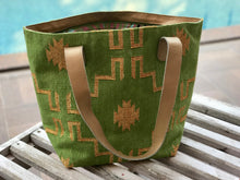 Load image into Gallery viewer, Lime | Gold Leather Bottom Medium Tote