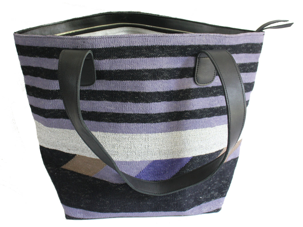 Periwinkle Leather Bottom Medium Tote