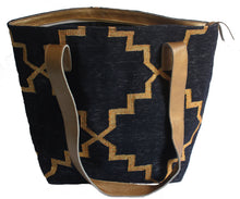 Load image into Gallery viewer, Black | Gold Leather Bottom Medium Tote