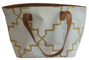 Cream | Gold Leather Bottom Weekender Tote