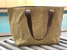 Load image into Gallery viewer, Golden Zari Leather Bottom Weekender Tote