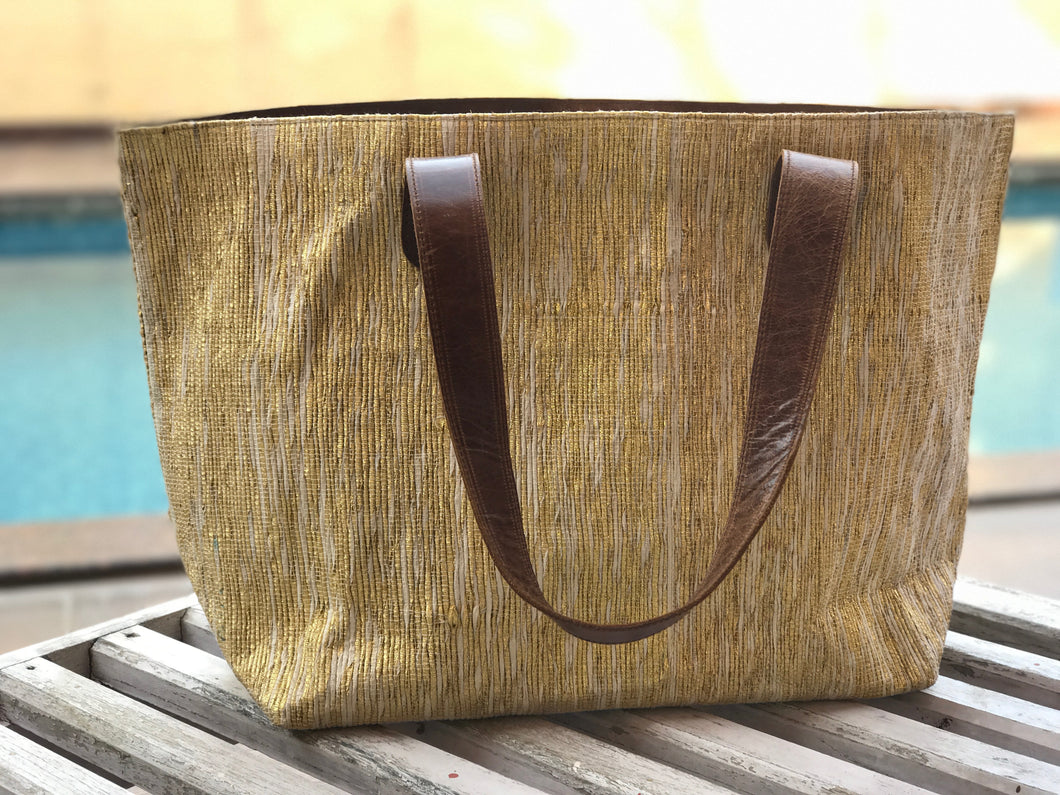 Golden Zari Leather Bottom Weekender Tote