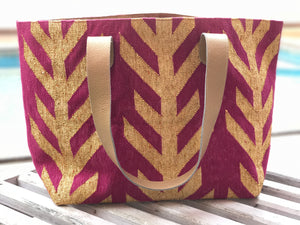 Magenta | Gold Leather Bottom Weekender Tote
