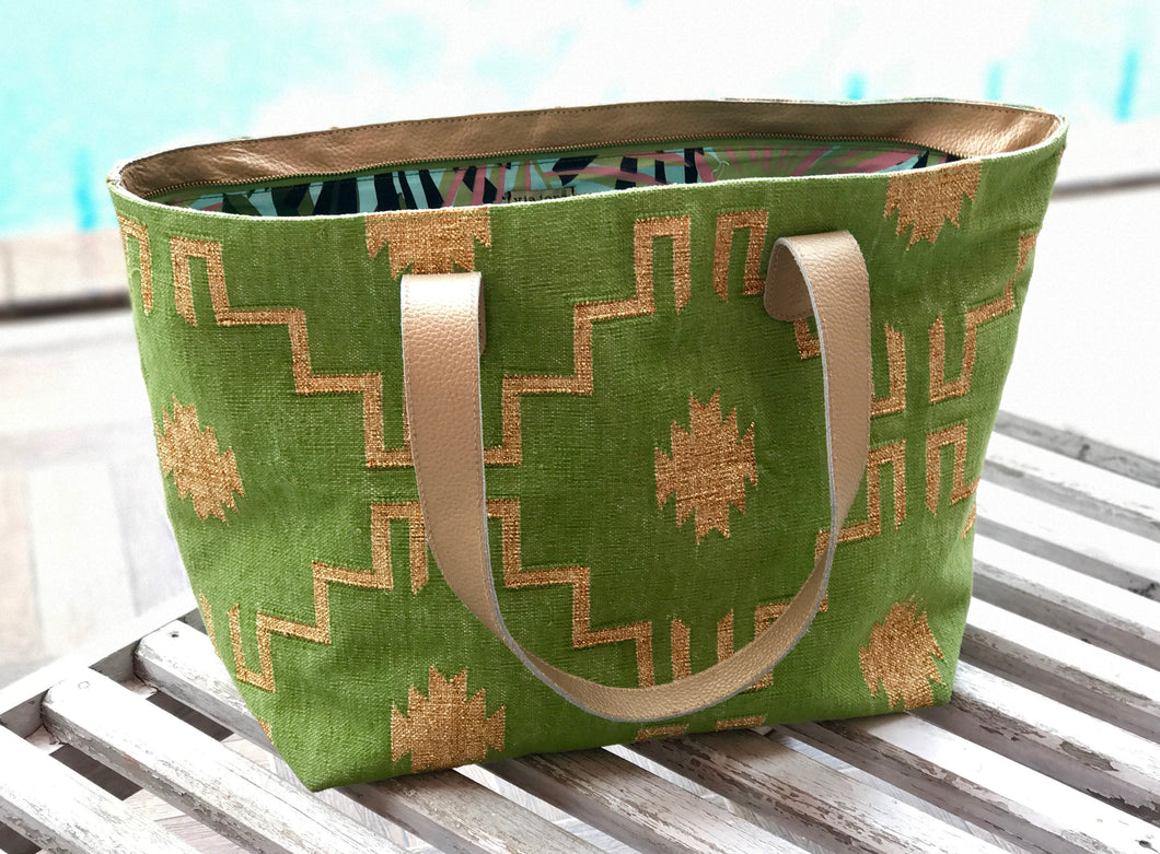 Lime | Gold Leather Bottom Weekender Tote