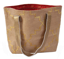 Load image into Gallery viewer, Oatmeal | Gold Weekender Tote