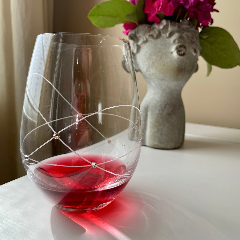 Galaxy Spirals Stemless Wine Glasses - set of 2pc in a gift box