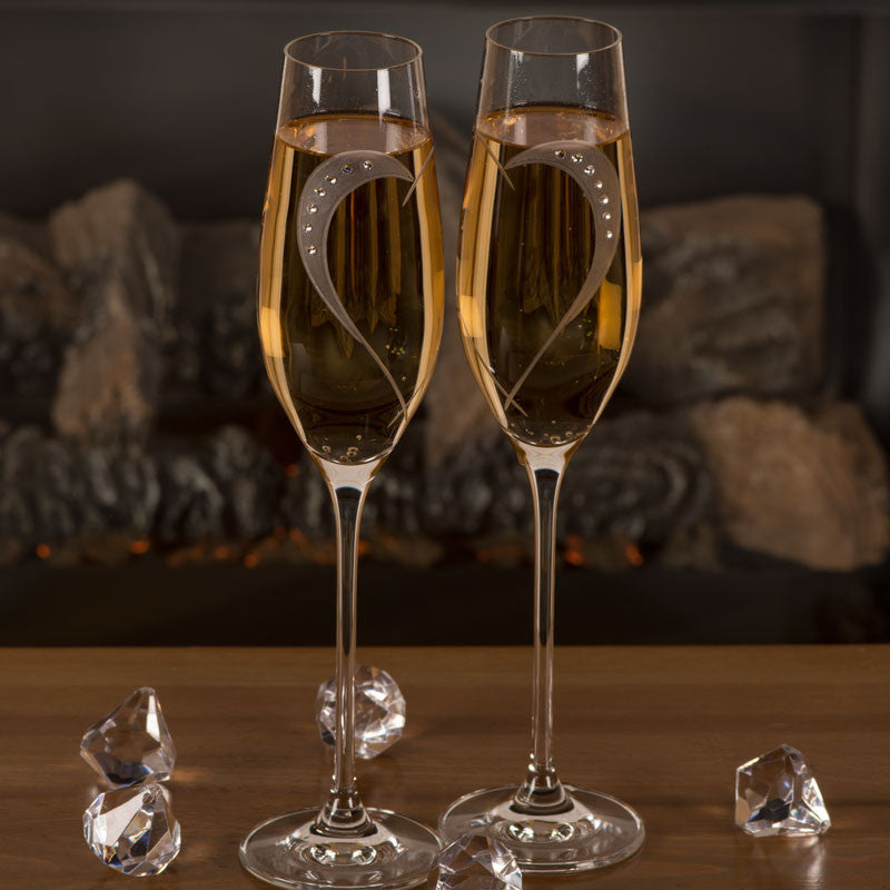 Lovers Champagne Glasses - set of 2pc in gift box