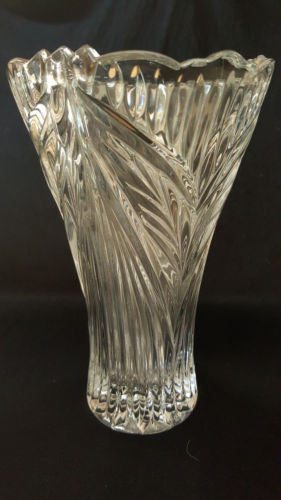 Clear Floral Anna Hutte Germany Bleikristall Vintage Lead Crystal Glass Vase