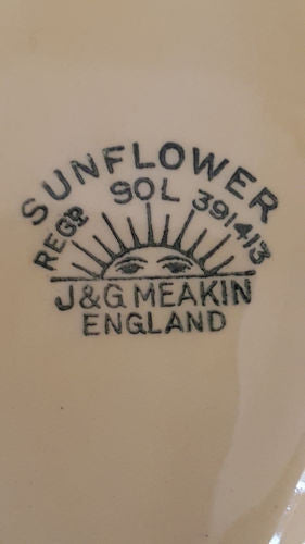 J & G Meakin Sunflower England Ware, made in England.