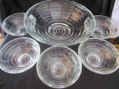 Vintage Glass Bowl Set X 6 Large Small Glassware Dinnerware Serving Pieces Table