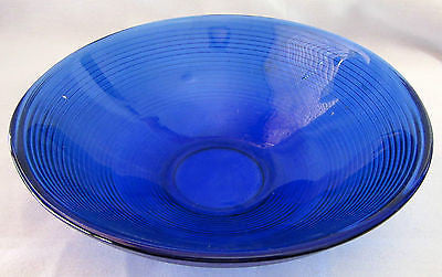 Vintage Cobalt Blue Glass Bowl Fruit Serving Piece Table Dinner Kitchen Ware in