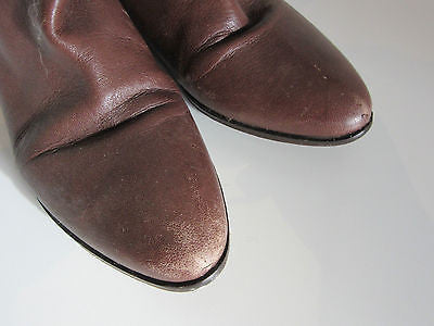 Brown Leather Boots Size 38 All Leather Zip Detailing
