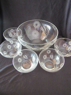 Vintage Glass Bowls x 6 Set Floral Etched Table Dinner Serve Ware Serving Piece