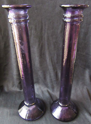 Purple Glass Candlestick Holder x2