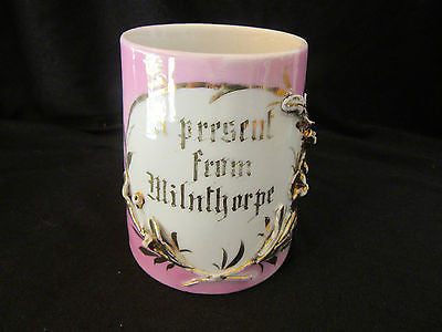 Vintage Mug Made in Germany 'A present from Milnthorpe' Pink Gold Sculpture Leaf