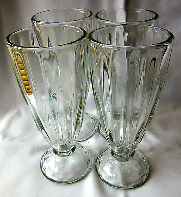 4 x Vintage Sunday Glasses 1960s Glassware Retro Vintage Ice Cream Clear Glass