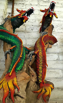 Large Dragon Wooden Sculpture Decorative Art Oriental Figurine Ornament Asian Of