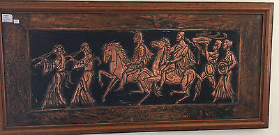 "Antique ""Grecian Scene"" Framed Copper Art Solid Hand Beaten Copper Quality Timber Frame Art"