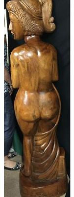 Oak Wood Sculpture - Large Lady Statue