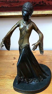 Antique African Lady Negress Bronze Sculpture Statue Ornament Figurine Beautiful
