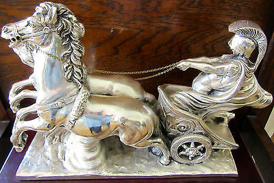FILLED SILVER Chariot & Horses Sculpture Wooden Base Collectors Item Vintage Set