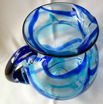 Vintage Hand Blown Glass Jar Water Pitcher with Blue Streaks Art Multiple Use