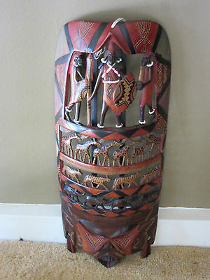 Vintage African Tribal Decorative Sculpture Art Carve Elephant Giraffe Detailed