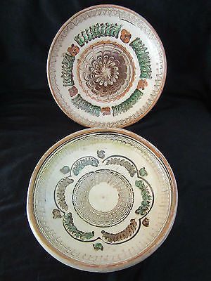 2x Vintage Decorative Plate Pottery Stamped Ready to Hang Art Painted Design in