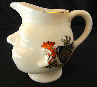 Vintage Jug Pitcher England Victoria China JRC 228 Gentleman's Head Sculpture in