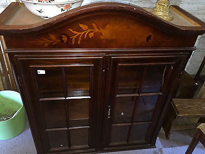 Antique Display Cabinet Glass Unit English Wooden Storage 2x Door Detailed Carve