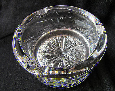 Retro Glass Ashtray Cut Etched Collectors Gift Round Detailed Base Bar Man Cave