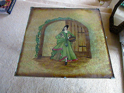 Antique Glass + Wood Folding Table Beautiful Lady Elegant Dress Side Hall Aged