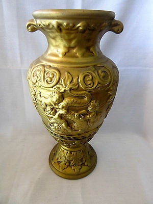 Vintage Large Vase Gold Coloured Pot Great Detail Sculpture Home Decor Antique