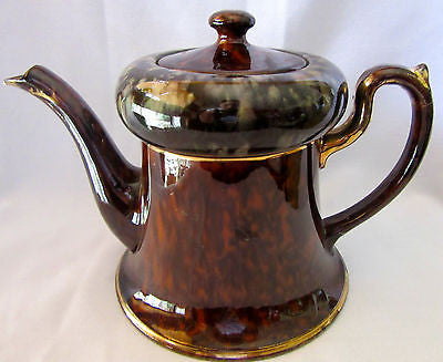 Vintage English Tea Pot Glazed Brown Antique Style Unique with Lid Coffee Art Of
