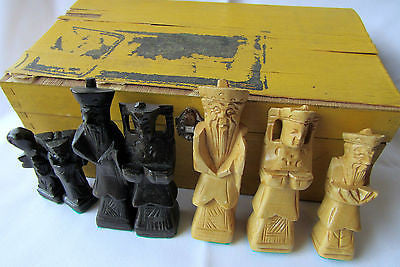 Beautiful Hand Carved Wooden Chess Set Original Box Full of Character Authentic