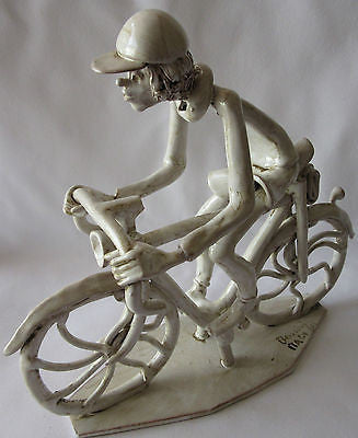 Sculpture Man Riding Bike Figurine Signed Made in Italy Decorative Porcelain Of