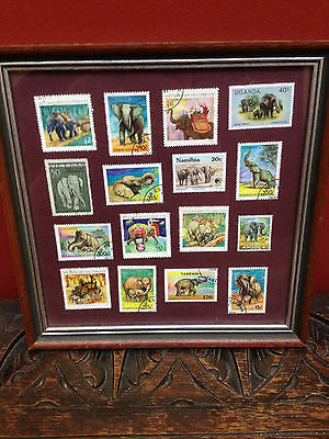 Vintage Framed Elephant Stamp Collection Framed Art