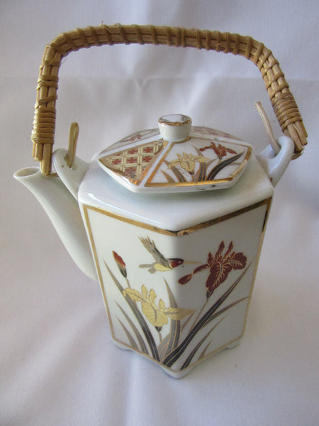 Hexagonal  Floral Teapot with Weaved Handle