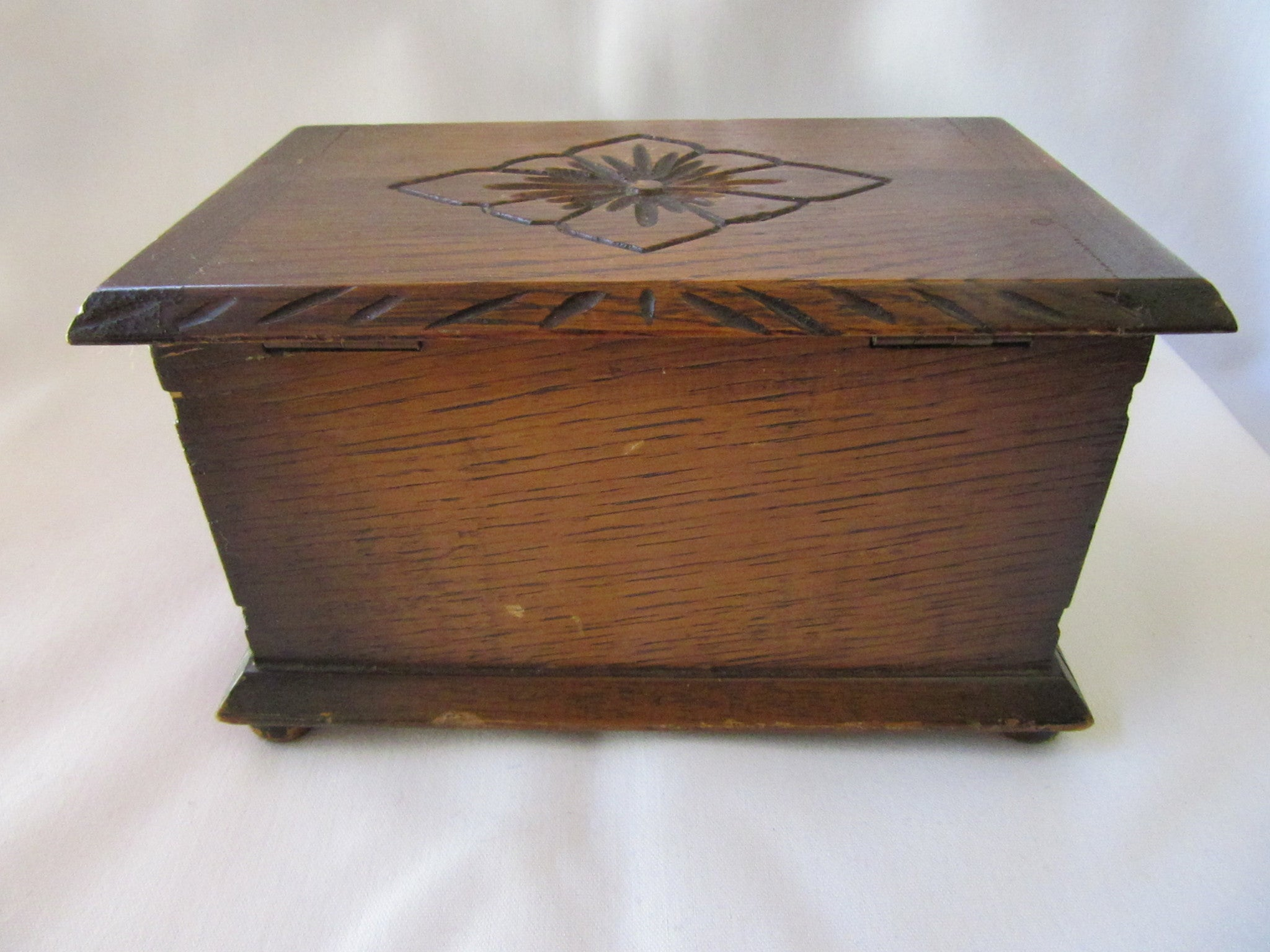 Etched Wooden Jewelry Box Vintage Wooden Box Wooden Jewellery