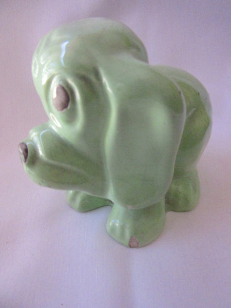 Collectible Dog Figurine – Vintage Porcelain Dog Figurine - Miniature Green Animal Ornament