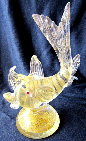 Gold Leaf Venetian Art Glass Fish Sculpture, Made in Italy