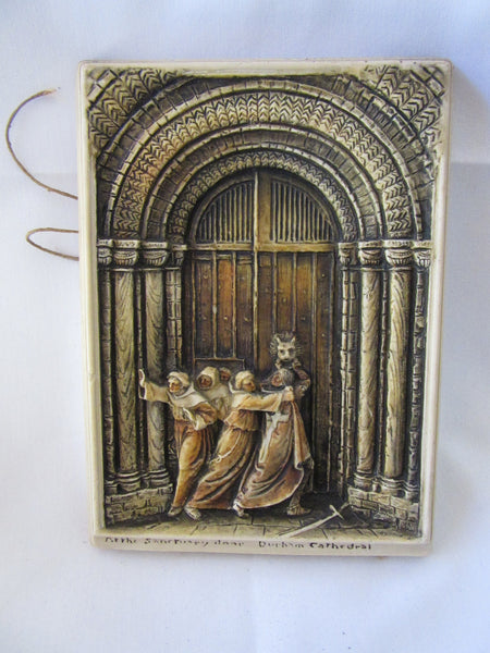 Durham Cathedral Sanctuary Door Low Relief Sculpture – Ivorex Osborne Vintage Decorative Plaque