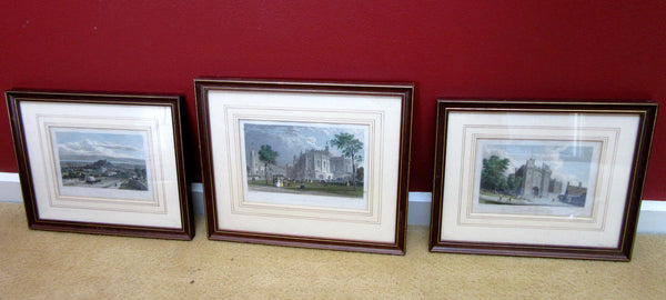 3x Antique Wooden Framed Drawings, W. Westall & T. Allom