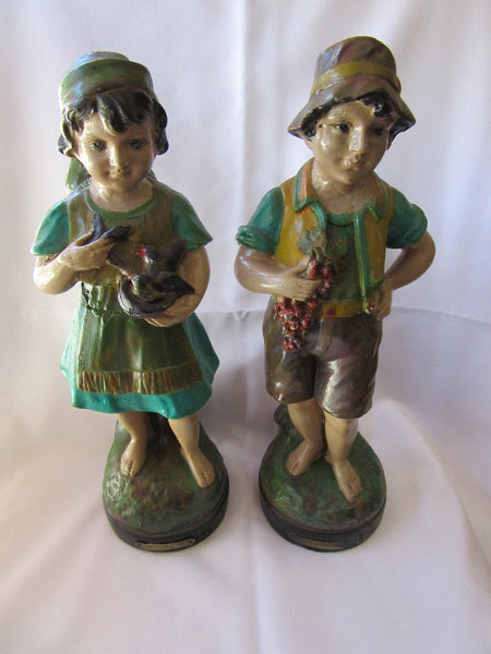 Antique Porcelain Figurines Collectibles – Hand Painted Figurines – Vintage Boy and Girl Figurines