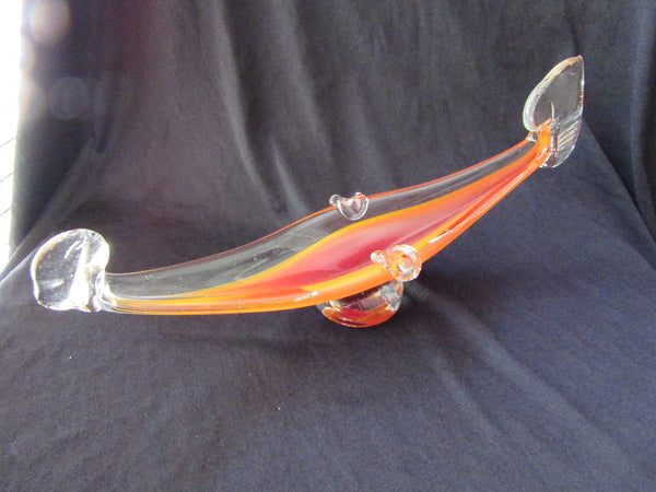 Antique Murano Glass Gondola – Orange Murano Glass Paperweight