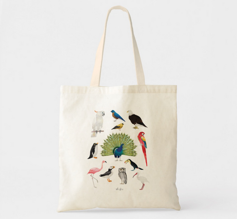 Watercolor Birds Canvas Tote