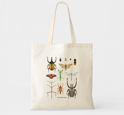 Watercolor Insect Bug Canvas Market Tote by Anne Green Design