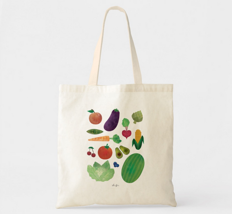 Watercolor Victory Garden Vegetable and Fruit Canvas Market Tote by Anne Green Design