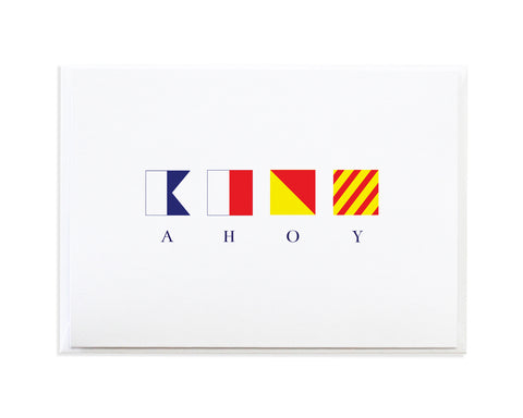 Ahoy Sailor International Maritime Signal Flags Greeting Card by Anne Green Design