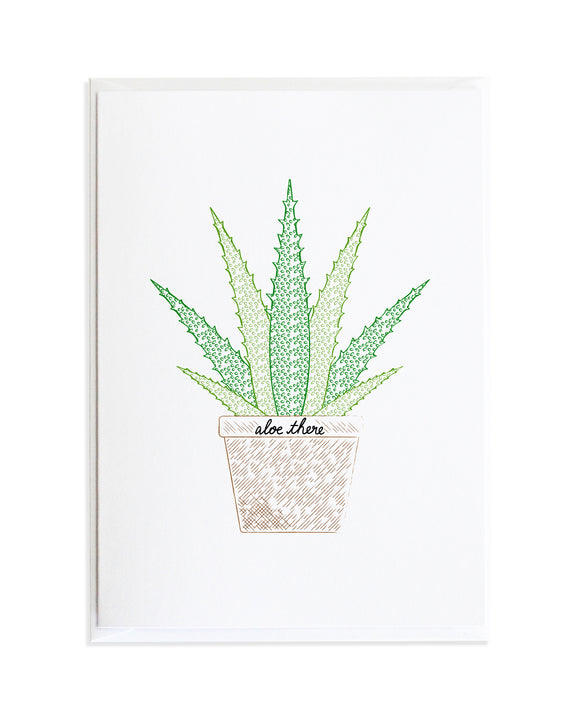Aloe Plant Hello There Greeting Card by Anne Green Design